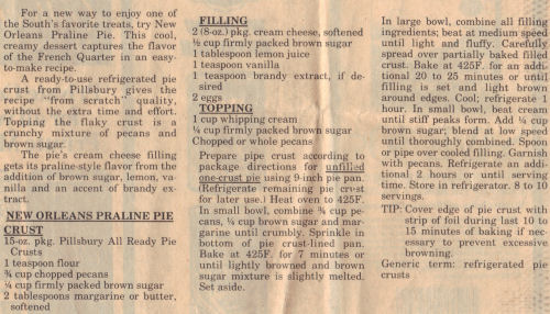 Recipe Clipping For New Orleans Praline Pie