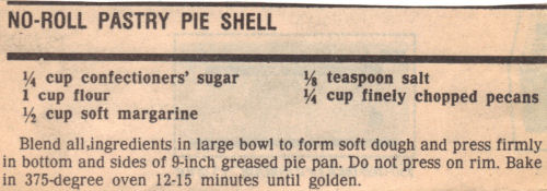 Recipe Clipping For No-Roll Pastry Pie Shell