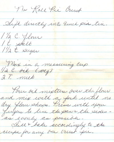 Handwritten Recipe For No Roll Pie Crust