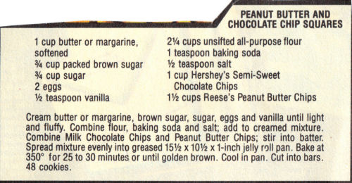 Recipe Clipping For Peanut Butter Chocolate Chip Squares