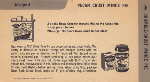 Vintage Recipe Card For Pecan Crust Mince Pie