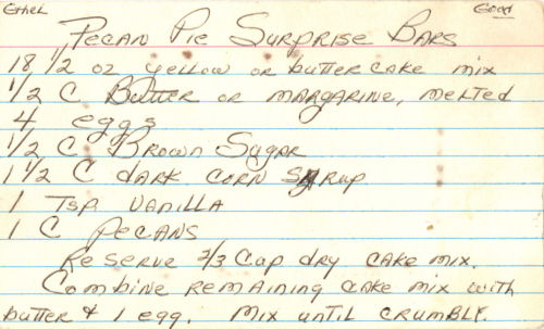 Handwritten Recipe Card For Pecan Pie Surprise Bars