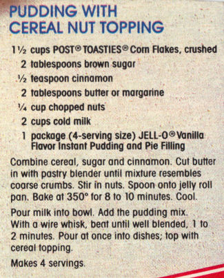 Recipe Clipping For Pudding With Cereal Nut Topping