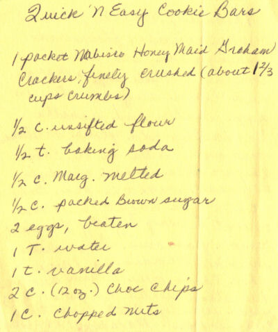Handwritten Recipe For Quick 'N Easy Cookie Bars