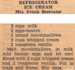 Recipe Clipping For Refrigerator Ice Cream