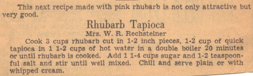 Vintage Recipe Clipping For Rhubarb Tapioca