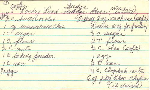 Handwritten Recipe For Rocky Road Fudge Bars