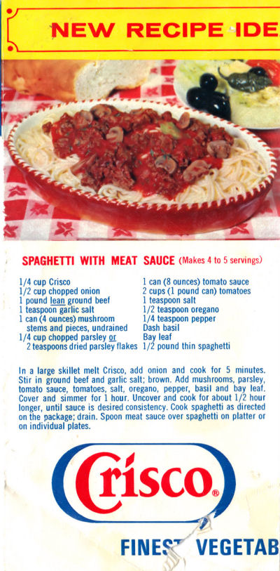 Recipe Clipping For Spaghetti With Meat Sauce