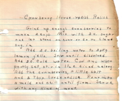 Cranberry Horseradish Relish Handwritten Recipe - Click To View Large