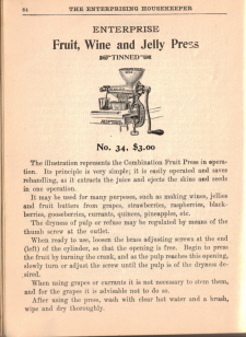 Enterprise Fruit, Wine & Jelly Press - The Enterprising Household - Click To View Larger