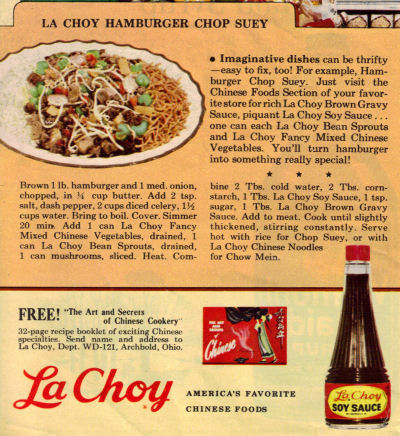La Choy Hamburger Chop Suey Recipe Clipping