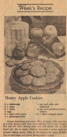 Honey Apple Cookies Recipe Clipping - Click To View Larger