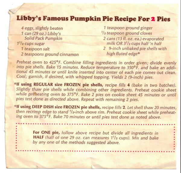 Libby Pumpkin Pie Mix Ingredients