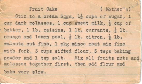 Mother S Fruit Cake Recipe Typed Card 171 Recipecurio Com