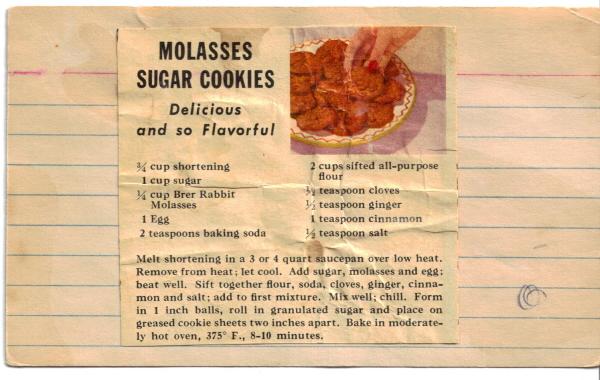 Molasses Sugar Cookies Recipe Clipping Recipecurio Com