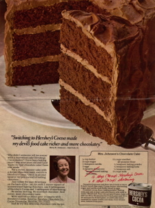 Mrs. Johnson's Chocolate Cake Recipe Clipping - Click To View Larger