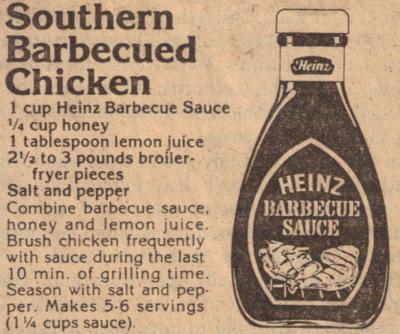 Southern Barbecued Chicken - Recipe Clipping - RecipeCurio.com