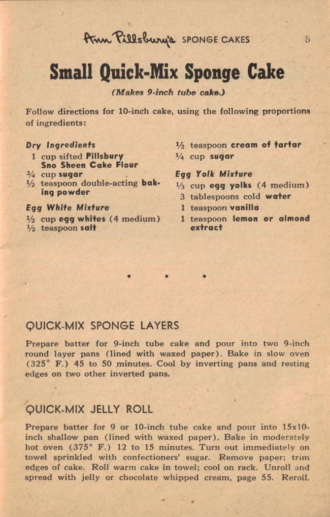Small Quick Mix Sponge Cake Vintage 55 Favorite Cake