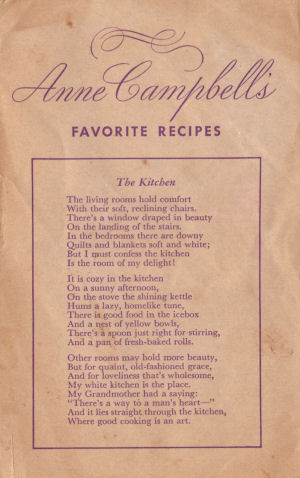 Anne Campbell's Favorite Recipes Booklet