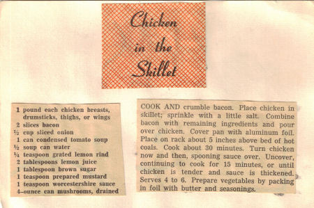 Chicken In The Skillet Recipe Clipping