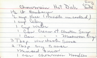 Handwritten Recipe Card For Chowmein Hot Dish - Click To View Larger
