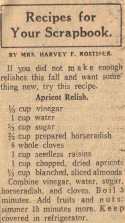 Apricot Relish Recipe Clipping