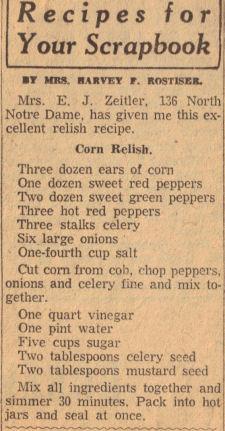 Corn Relish Recipe Clipping