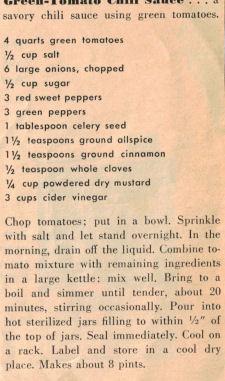 Green Tomato Chili Sauce Vintage Recipe Clipping Recipecurio Com