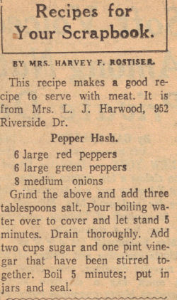 Pepper Hash Recipe Clipping