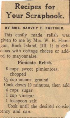 Pimiento Relish Recipe Clipping