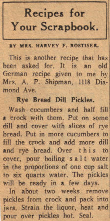 Rye Bread Dill Pickles Vintage Recipe