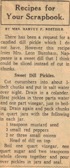Sweet Dill Pickles Recipe Clipping