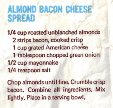 Almond Bacon Cheese Spread Recipe Clipping