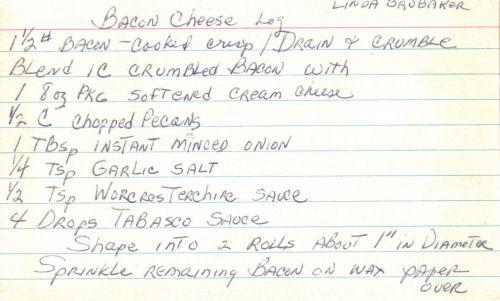 Bacon Cheese Log Recipe Card
