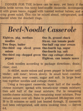 Beef Noodle Casserole Recipe Clipping