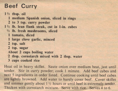 Beef Curry Recipe Clipping