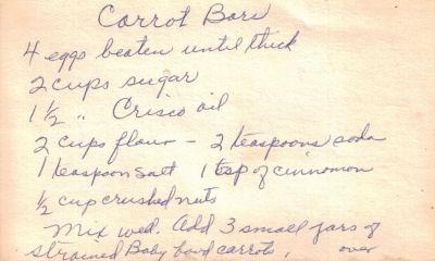 Carrot Bars Handwritten Recipe Card