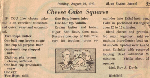 Cheese Cake Squares Recipe Clipping