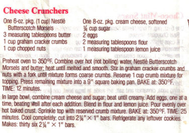 Cheese Crunchers Cookie Bars Recipe