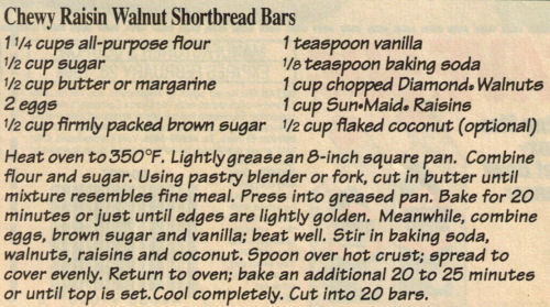 Chewy Raisin Walnut Shortbread Bars Recipe