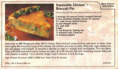 Impossible Chicken 'n Broccoli Pie Recipe