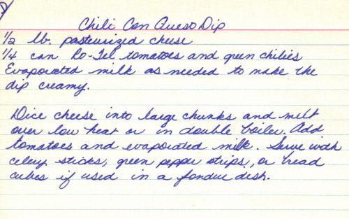 Handwritten Chili Con queso Dip Recipe Card