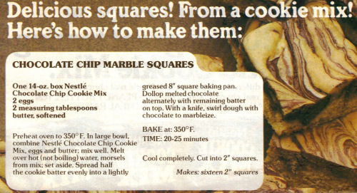 Chocolate Chip Marble Squares Recipe Clipping