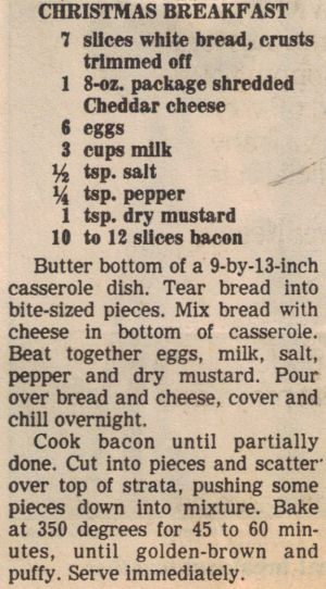 Christmas Breakfast Casserole Recipe Clipping