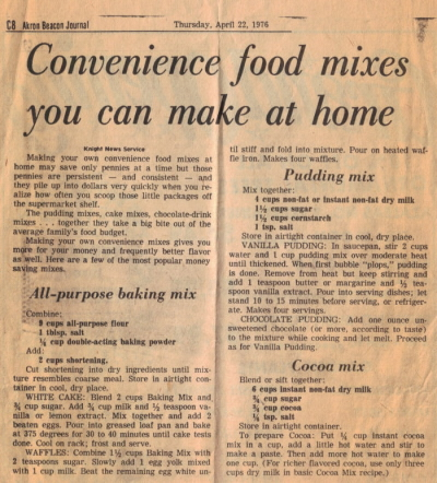 Convenience Food Mixes Recipes Newspaper Clipping