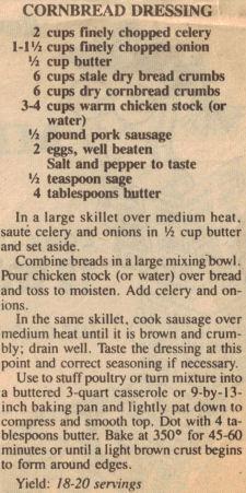 Cornbread Dressing Recipe Clipping