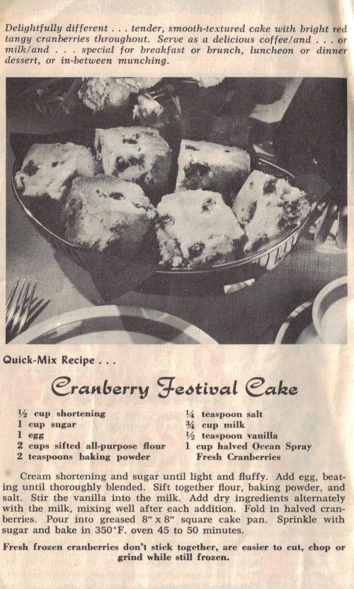 Vintage Cranberry Festival Cake Recipe Page
