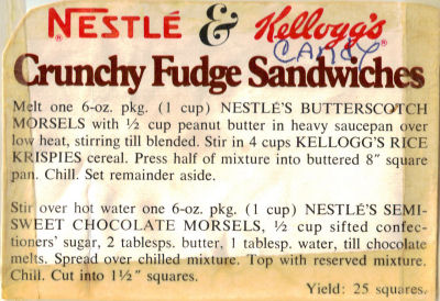 Crunchy Fudge Sandwiches - Recipe Clipping