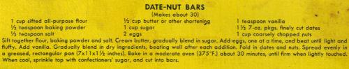 Date-Nut Bars Recipe