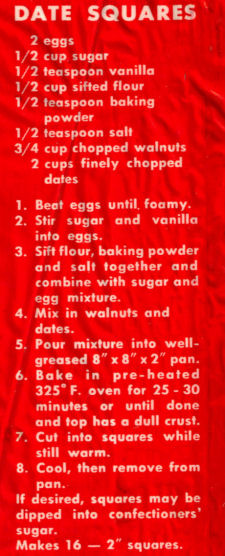 Date Squares Recipe Clipping